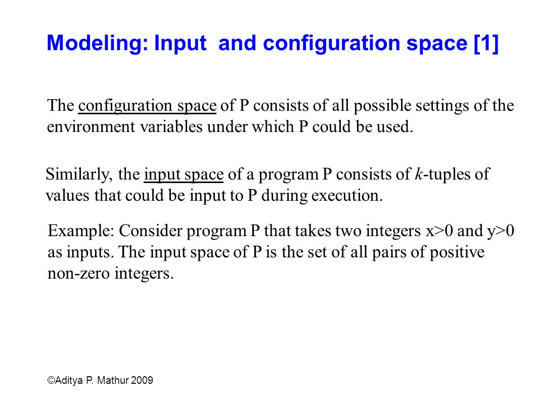 Modeling: Input and configuration space [1]